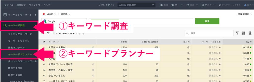 Rank Trackerを使ったキーワード選定方法