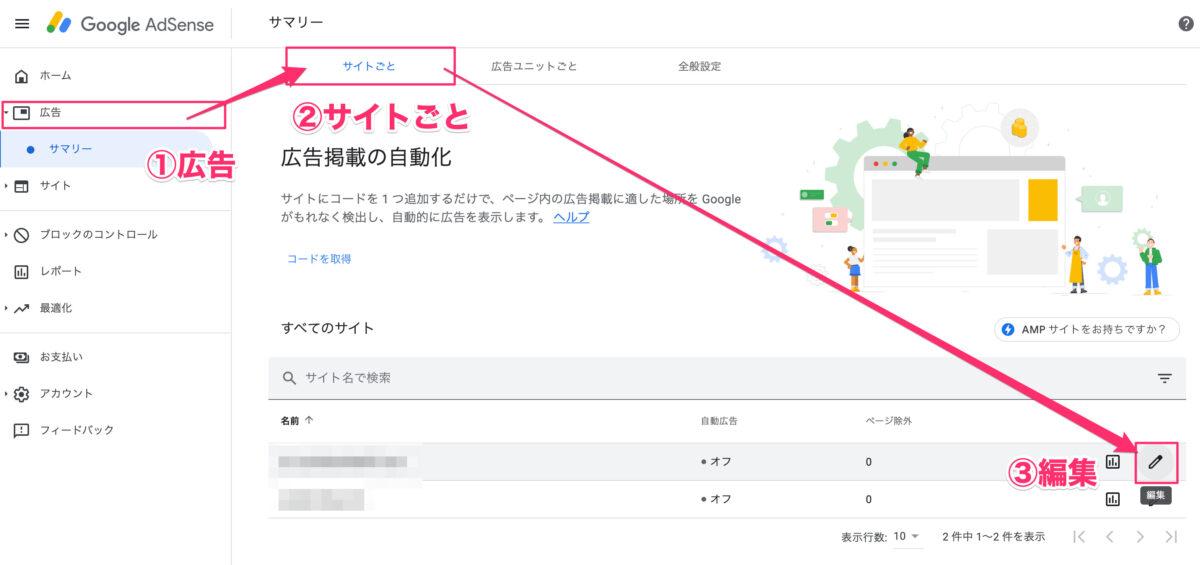 『広告』→『サイトごと』→『編集』